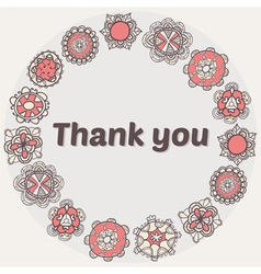Thank you card with ethnic ornament stylish floral vector
