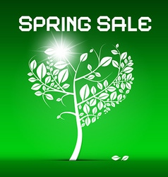 Spring sale green with heart shaped tree and vector