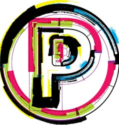 Colorful grunge font letter p vector