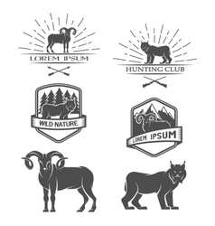 Sheep and lynx posters labels emblem vector