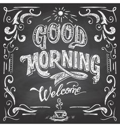 Good morning cafe chalkboard vector