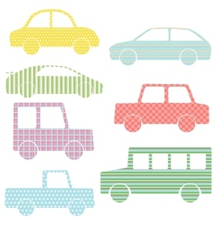 Collection of car silhouettes with simple patterns vector