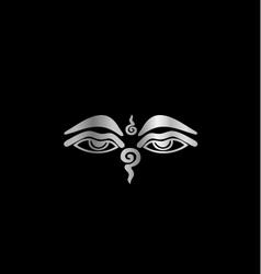 Eye of buddha- buddhism symbol vector