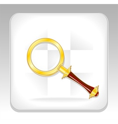 Gold magnifier icon or button vector