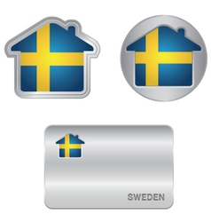 Home icon on the sweden flag vector