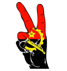 Peace sign of the angola flag vector