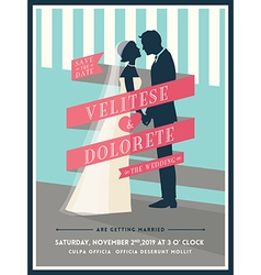 Groom and bride with ribbon wedding invitation vector