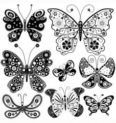 Collection black and white butterflies vector