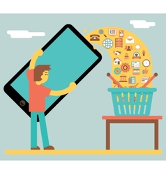 Online mobile marketing sale and buy concept icon vector