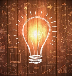 Light bulb with drawing business success strategy vector