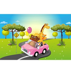 A pink car travelling with animals vector
