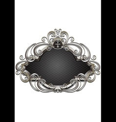 Silver frame with heraldry and decor of beads and vector