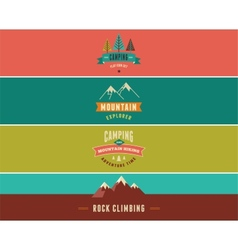 Hiking camp banners backgrounds and elements vector