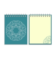 Blue cover notebook with round ornate pattern vector