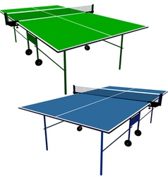 Ping pong blue and green table tennis vector