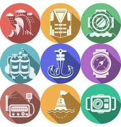 Diving flat color icons collection vector