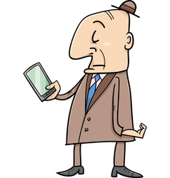 Elder man with smart phone vector