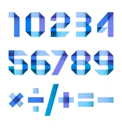 Spectral letters folded of paper blue ribbon - vector