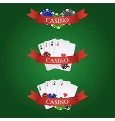 Casino elements ribbon playing cards dices and vector