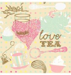 Love tea background vector