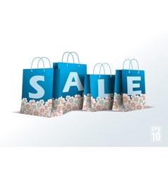 Blue paper bag with cherry blossom vector
