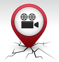 Cinema red icon in crack vector