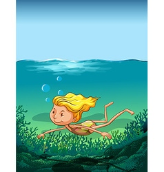 Girl swimming in ocean vector