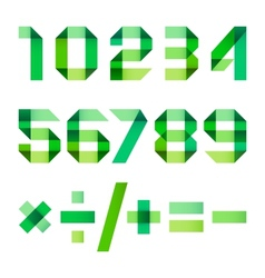 Spectral letters folded of paper green ribbon - vector