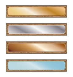 Metal plates with wood frames vector