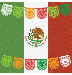 Mexican flag decoration vector