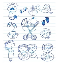 Infant doodle icon set vector