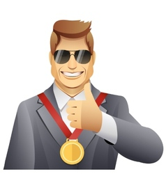 Winner with medal vector