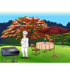A person grilling at the park vector