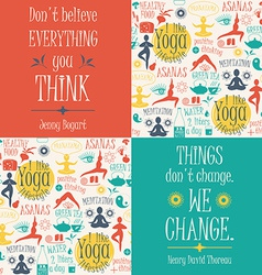 Yoga background with yogic quotes vector