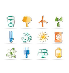 Energy and nature icons vector