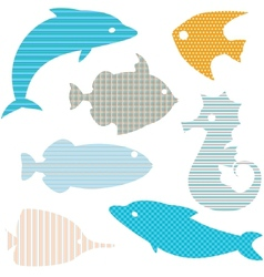 Set of fish silhouettes with simple patterns vector