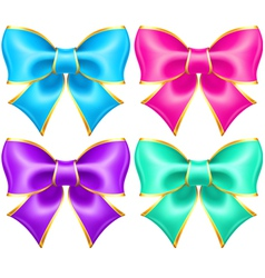 Bright holiday bows with gold border vector