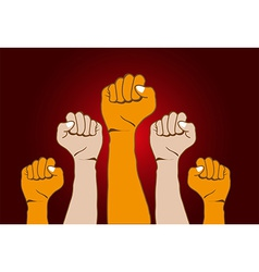 Revolution hands background vector