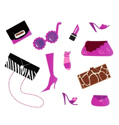 Pink bags and shoes icons vector