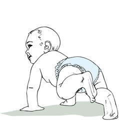 Crawling baby boy in diaper vector