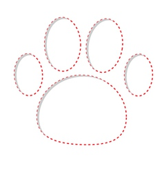 Paw print with red dash line empty frame template vector