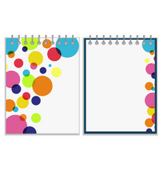 Spiral notebook with bright colorful cover design vector