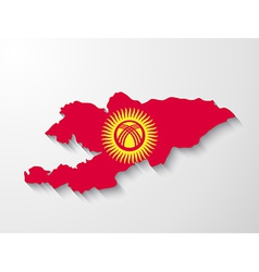 Kyrgyzstan country map with shadow effect vector