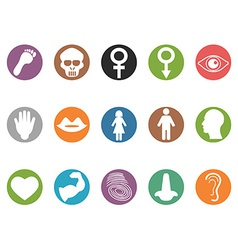 Human feature round buttons icons set vector