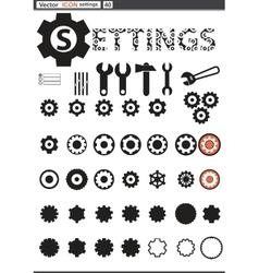 Set web icons settings cogwheel vector