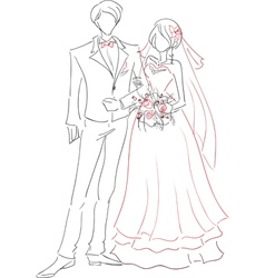 Wedding couple sketch vector