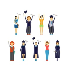 Set of cheering students and graduates vector