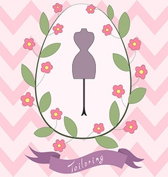 Bright floral card with cute cartoon tailoring vector