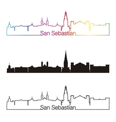 San sebastian skyline linear style with rainbow vector