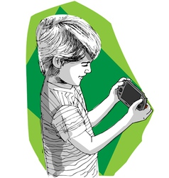 Boy playing game console vector